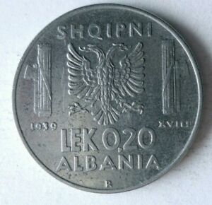 1939 ALBANIA 0.20 LEK - Very Low Mintage Coin - AU - High Value - Lot #L17