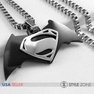 MEN Stainless Steel Batman vs Superman New Film Logo Pendent w/ Box Necklace 14V