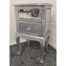Pair Of Silver Metal Embossed Mirrored 2 Drawer Bedside Cabinet Table