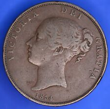 More details for british coin - 1854 victoria young head penny 1d coin  [18744]