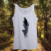 Black Feather Top Ladies Womens White Sleeveless Summer 2015 Ozzy Osbourne Style