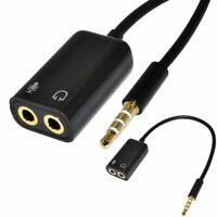 New Gold Plated Headphone Mic Audio Splitter Cable Adapter