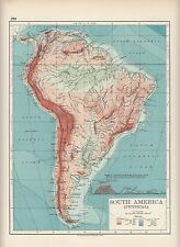 1897 VICTORIAN MAP ~ SOUTH AMERICA PHYSICAL HEIGHTS & DEPTHS