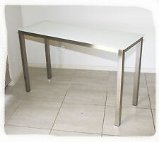 Austin 1200x450 Stainless Steel & White Glass Hall Table - BRAND NEW