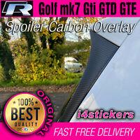 VW Mk7 Golf Spoiler Side Carbon Fiber vinyl overlays Sticker Decal R Gti GTD GTE