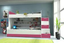 Doppelstockbett Etagenbett Bett Kinderbett Jugendbett Hochbett B003 Rosa/Weiß