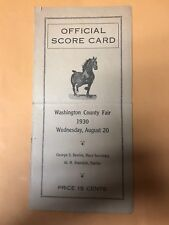 1930 Washington County Fair Horse Racing Official Score Card Program