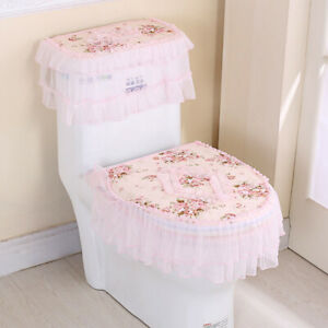 3x Floral Toilet Seat Cover Closestool Tank Top Covers Zip Lid Pad Bathroom Home
