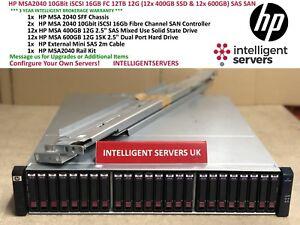 HP MSA2040 10GBit iSCSI 16GB FC 12TB 12x 600GB 15K & 12x 400GB SSD 12G SAS SAN