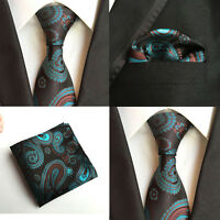 Men Lake Blue Brown Paisley Silk Tie Handkerchief Pocket Square Set Lot HZ105