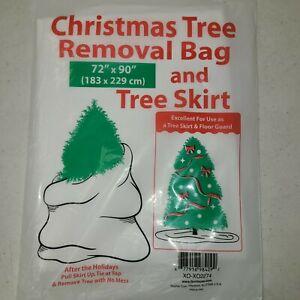 "Christmas Tree Removal Bag & Tree Skirt / Floor Guard   72"" X 90""  Large Tree"