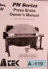 Atek PM Series, Press Brake, Owner's Manual 2003