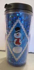 STARBUCKS ~ HOLOGRAM ~ SNOWMAN ~  INSULATED TUMBLER with LID ~ 8 oz ~ 2003