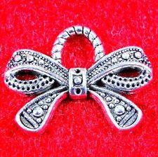 10Pcs. Tibetan Silver CHRISTMAS Ribbon BOW Pendants Charms Earring Drops PR331