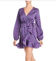 Aqua Womens Sz S Purple Plaid Bishop Long Sleeve Mini Wrap Dress
