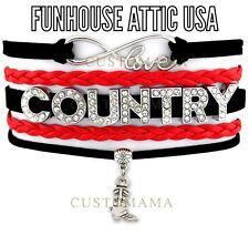 LOVE Country Rhinestone Infinity Jewelry Boot Bracelet Charm Quality BRAND NEW