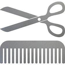 Sticker Scissors Comb 30cm Silver Decor Film Car Window Hairdresser Hair Salon