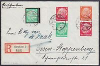 DR ZD S 108, S 112, 549 MiF auf R- Brief Konstanz - Essen 1935, Zusammendruck