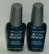 2 Wet n Wild WILD SHINE Nail Color Nail Polish BIJOU BLUE #443D