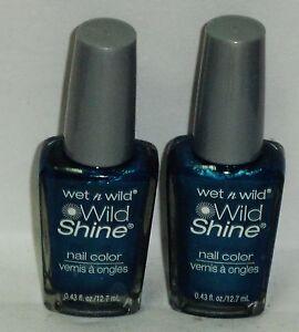 2 Wet n Wild WILD SHINE Nail Color Nail Polish BIJOU BLUE #443D