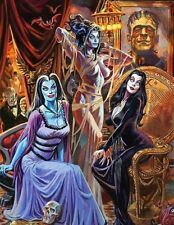 Universial Monster Girls, Morticia Addams, Lily Munster,Elvira Sticker or Magnet