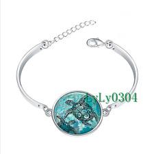Sea Turtles glass cabochon Tibet silver bangle bracelets wholesale