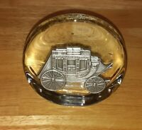 "Wells Fargo Glass Pewter Wagon Vintage Paperweight 3.5"" Circle"
