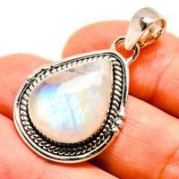 "Rainbow Moonstone 925 Sterling Silver Pendant 1 1/2"" Ana Co Jewelry P739698F"