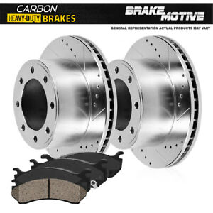 Front Brake Rotors + Carbon Ceramic Pads For 1995 - 1999 Ford F250 95 - 97 F350