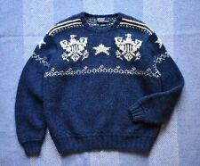 Vintage Polo Ralph Lauren Hand Knit Wool Jumper With Eagle Motif Size L RRL
