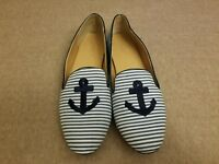 J.Crew A6259 Addie Women Shoes Anchor Print Slip On Striped Blue Loafers Size 10
