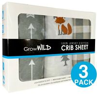 Baby Crib Sheets (3-Pack) 100% Cotton Fitted Jersey Woodland Grey White Plaid