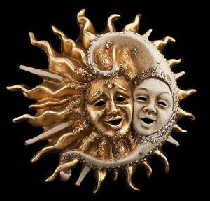 Masque de Venise Soleil Lune -grande Taille-en Papier Mache Fait Main -1984
