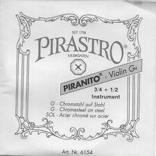Corde à l'unité Violon Pirastro 3/4 1/2 Violin G4 Sol Acier chromé sur acier