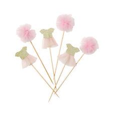 12 Baby Shower Christening Birthday Pink Tutu & Tulle Pom Pom Cupcake Food Picks
