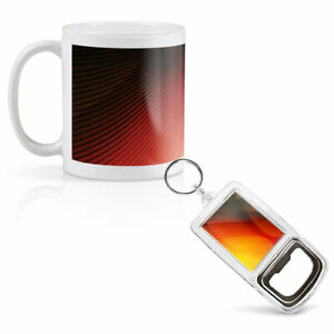Mug & Bottle Opener-Keyring-set - Abstract Orange Red Pattern   #3987
