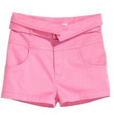 H&M Ladies Women's Pink Belted High Foldover Waist Shorts Size 10/BNWT