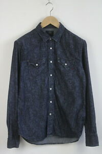 REPLAY M4860.000.70560 Men's MEDIUM Indigo Flower Denim Western Shirt 23439-JS