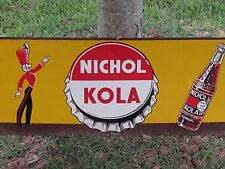 FANTASTIC RARE 1930s NICHOL KOLA SODA-COLA METAL-TIN SIGN-GREAT GRAPHICS & COLOR