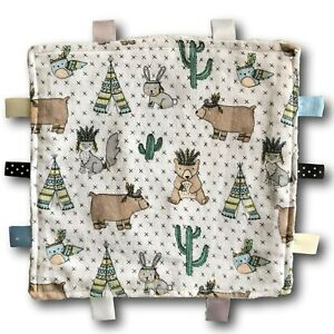 AMERICAN Theme with Teepees Cacti and Animals Tactile Baby Security Blanket
