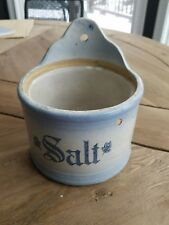Antique blue and white stencil stoneware salt crock very nice