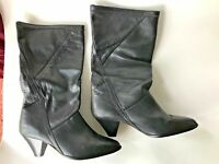 Black Ladies Boots Sz 7M  Leather Mid-Calf Catleia Brazil