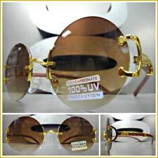 Men Classy Sophisticated Elegant Retro Style SUN GLASSES Round Gold & Wood Frame