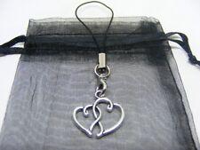Tibetan Silver Entwined Heart Mobile Phone / Handbag Charm With Gift Bag
