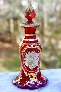 Antique Moser Bohemian Cranberry Cut Glass Perfume Bottle Gold White Enamel