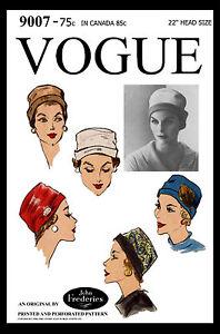 CLOCHE Bucket Hat Cap CLASSIC by John Frederics VOGUE 9007 VTG 50's Sew Pattern