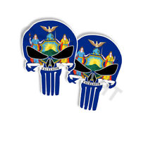 """PUNISHER STICKERS New York State Flag Punisher Skull Decals 5"""" tall 2-pack"""