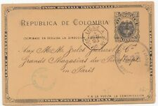 Colombia Old Postal Stationery Postcard Maritime Ligne A Paq  No 2 1893
