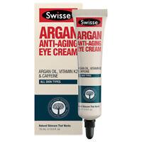 * SWISSE ARGAN ANTI-AGING EYE CREAM 15ML FOR ALL SKIN TYPES VITAMIN K2 CAFFEINE