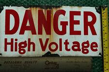 Vintage Porcelain Metal DANGER HIGH VOLTAGE Sign STAND.SAF.EQUIP